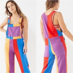 Urban Outfitters Colorblock Linen Overalls S NWOT